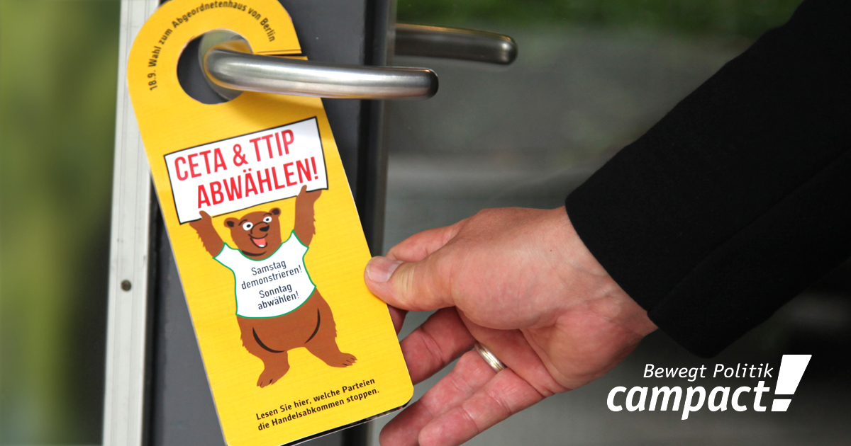 Türhänger gegen TTIP und CETA, Berlin