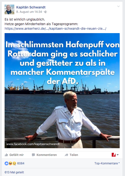 Kapitän Schwandt findet deutliche Worte