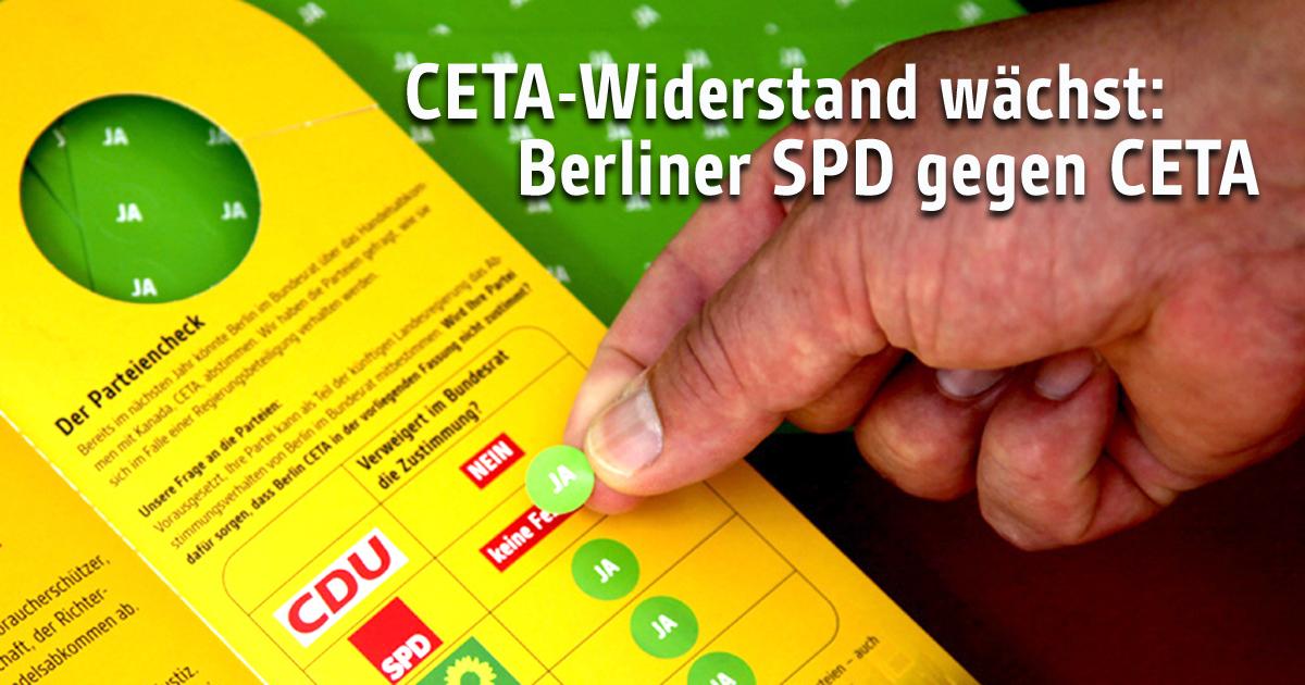 Am 5. September hat sich die Berliner SPD klar gegen CETA ausgesprochen.