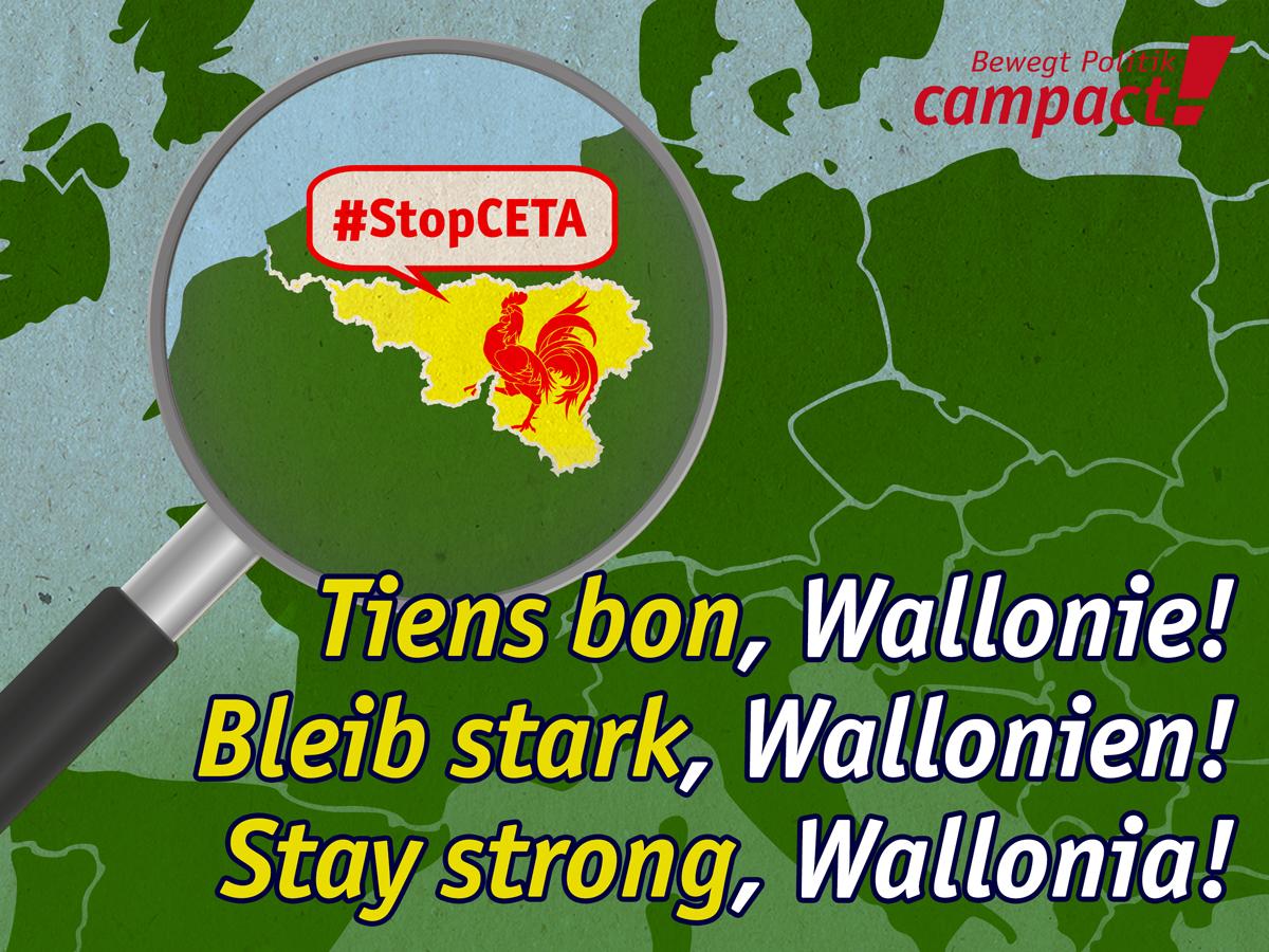 Das belgische Wallonien begehrt gegen CETA auf. Grafik: Sascha Collet/Campact
