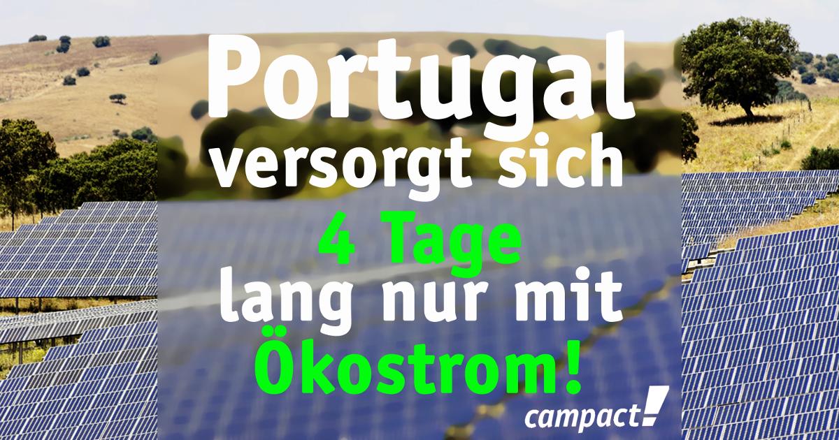 Portugal versorgt sich 4 Tage lang nur mit Ökostrom. Grafik: Campact