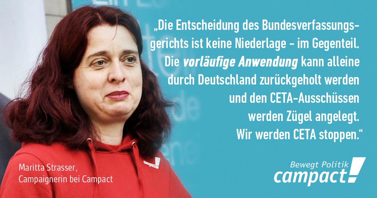 Zitat von Camaignerin Maritta Strasser zur CETA-Klage. Grafik: Zitrusblau/Campact (CC)