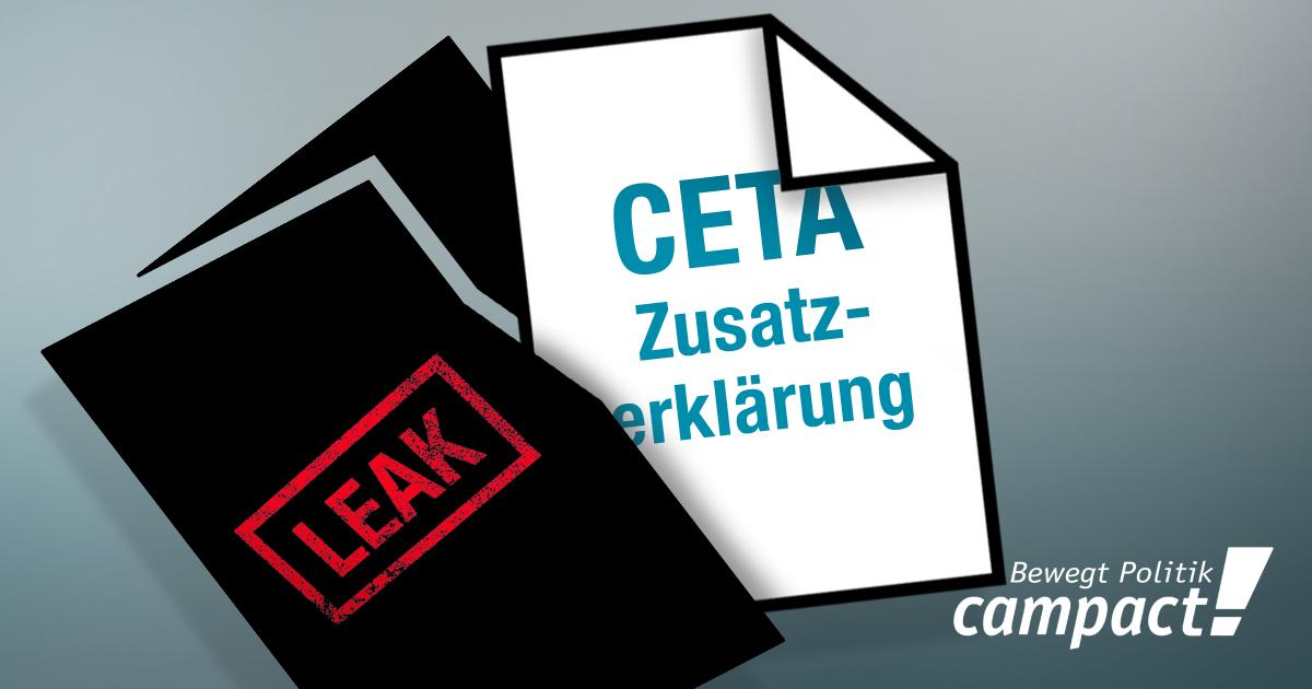 Die Zusatzerklärung zu CETA wurde geleakt. Grafik: Zitrusblau/campact
