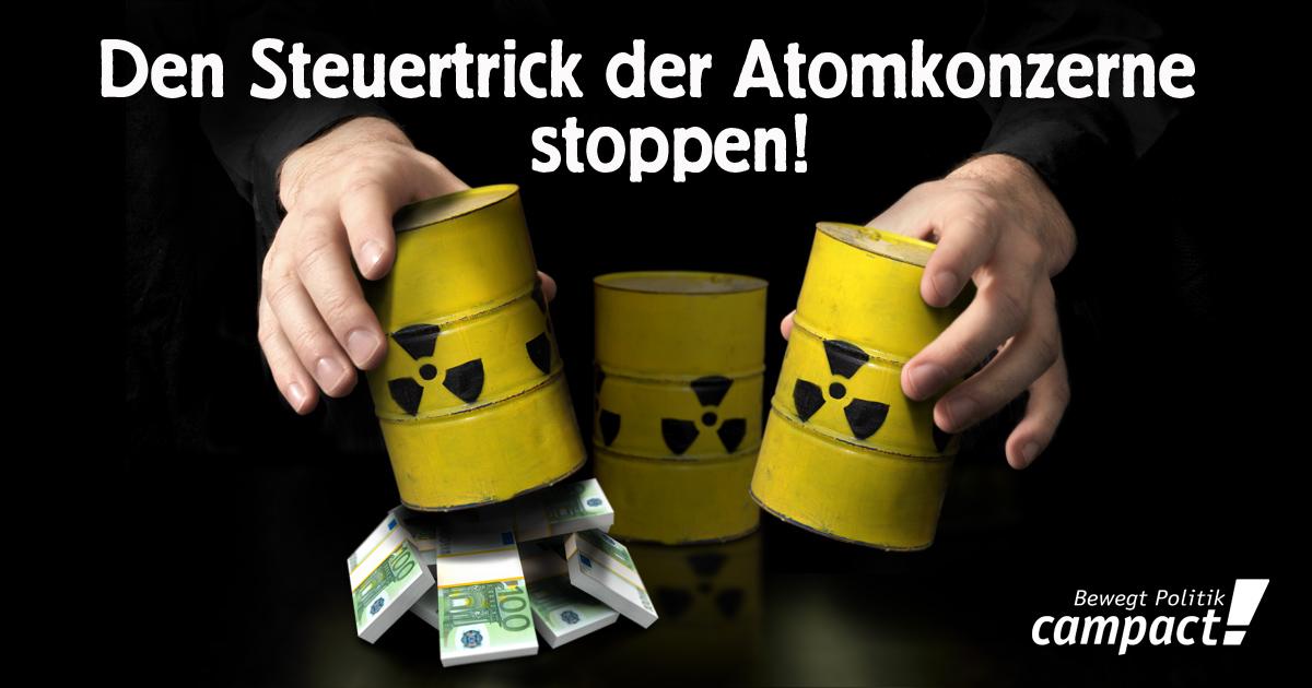 Bald sparen sich AKW-Konzerne die Brennelementesteuer. Grafik: Zitrusblau/Campact (CC)
