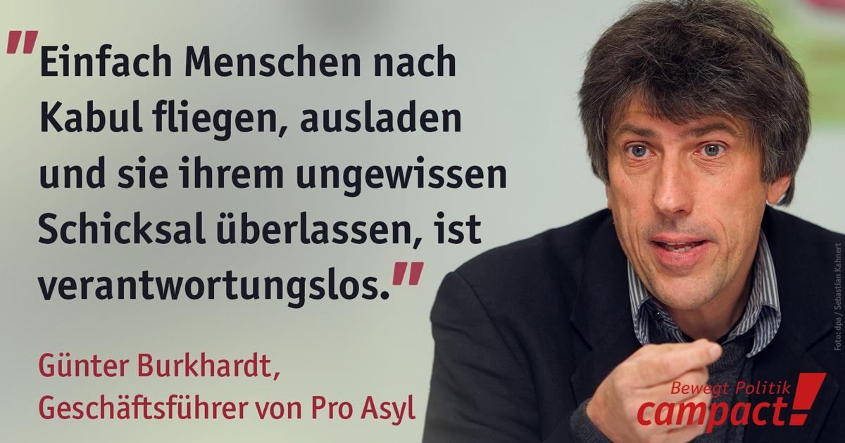 Zitat von Günter Burkhardt, Pro Asyl. Grafik: Sascha Collet/Campact. Foto: Sebastian Kahnert (dpa)