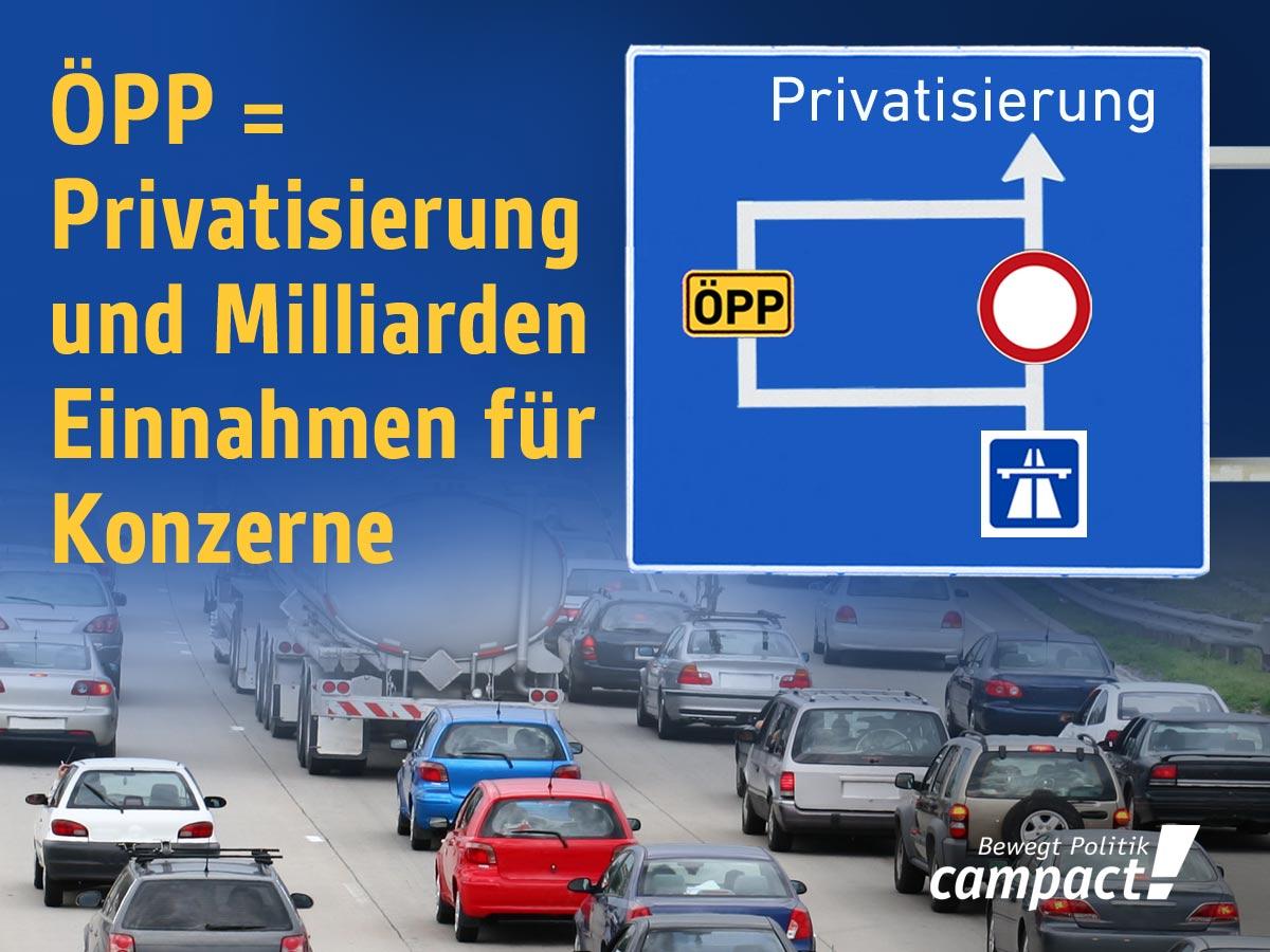 Autobahn-Privatisierung via ÖPP stoppen. Grafik: Zitrusblau/Campact (CC)