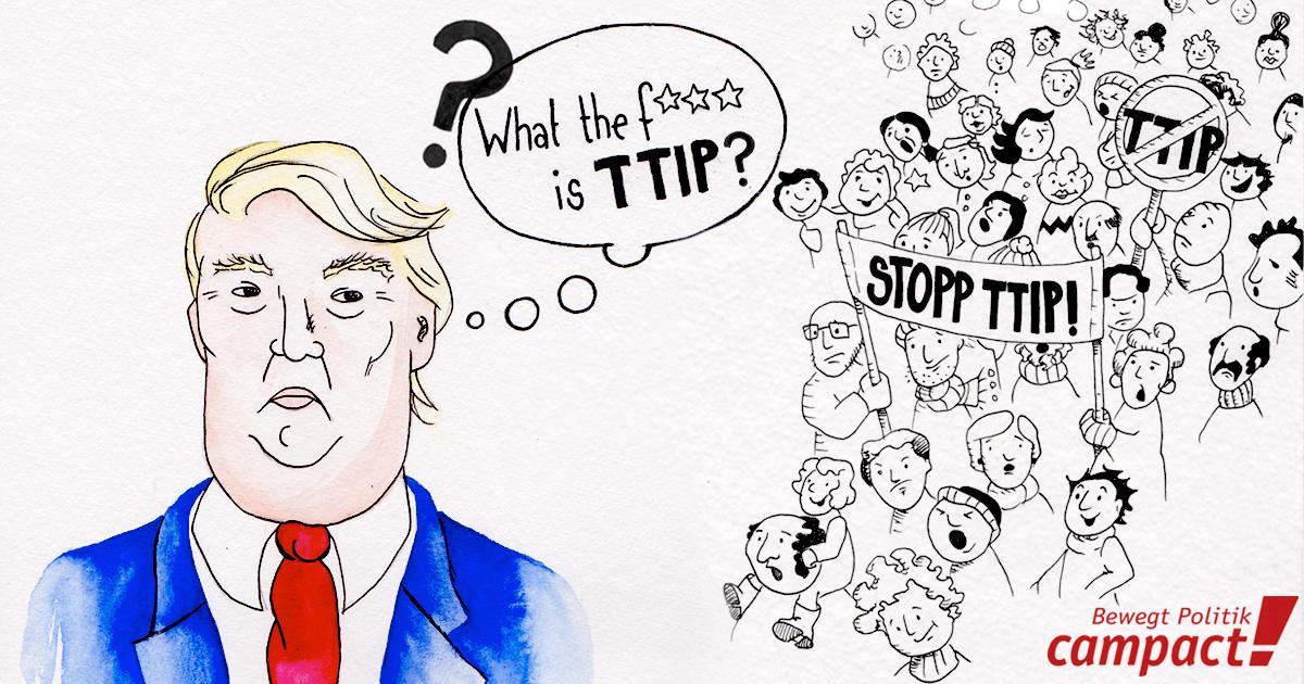 Trump und TTIP: Bisher hat sich Doanld Trump noch nicht öffentlich zu TTIP geäußert. Grafik: Lena Bartels/Campact (CC)