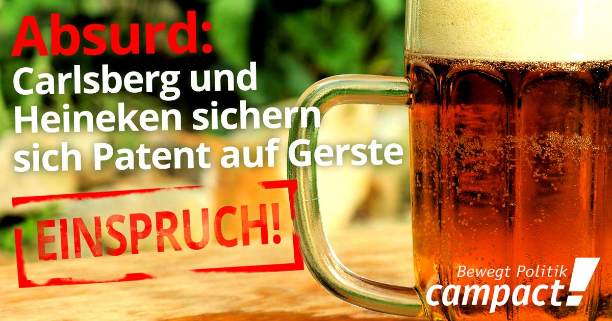 Einspruch gegen Gersten-Patent von Carlsberg und Heineken. Grafik: Sascha Collet/Campact