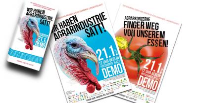 """Plakate und Flyer der Demo """"Wir haben es satt!"""" 2017"""
