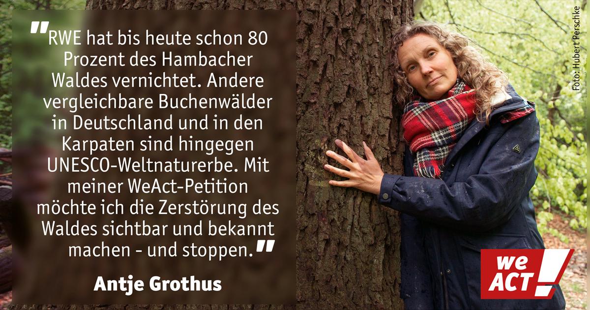 Antje Grothus will den Hambacher Wald in NRW retten - Unterstütze Sie dabei!