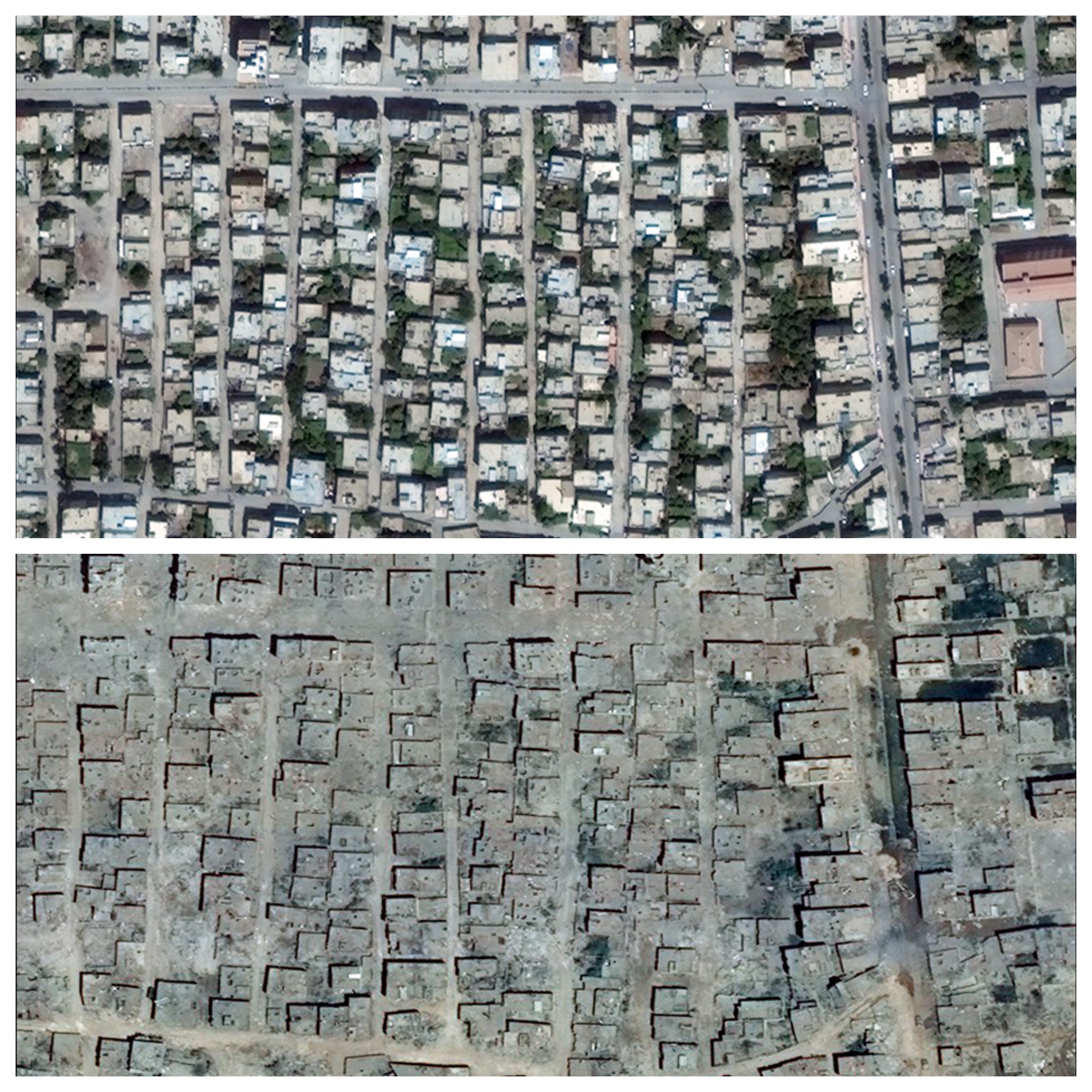 Der Menschnrechtskommissar der Vereinten Nationen veröffentlichte diese Satellitenbilder der Stadt Nusaybin in der Südost-Türkei - vor und nach den Kämpfen.