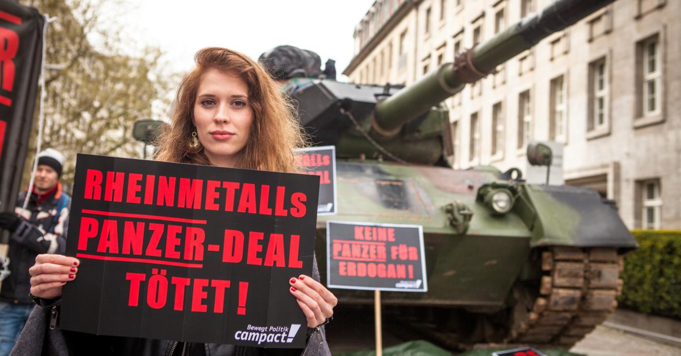 Rheinmetalls Panzer-Deal tötet - Aktion vor der Rheinmetall-Hauptversammlung Berlin