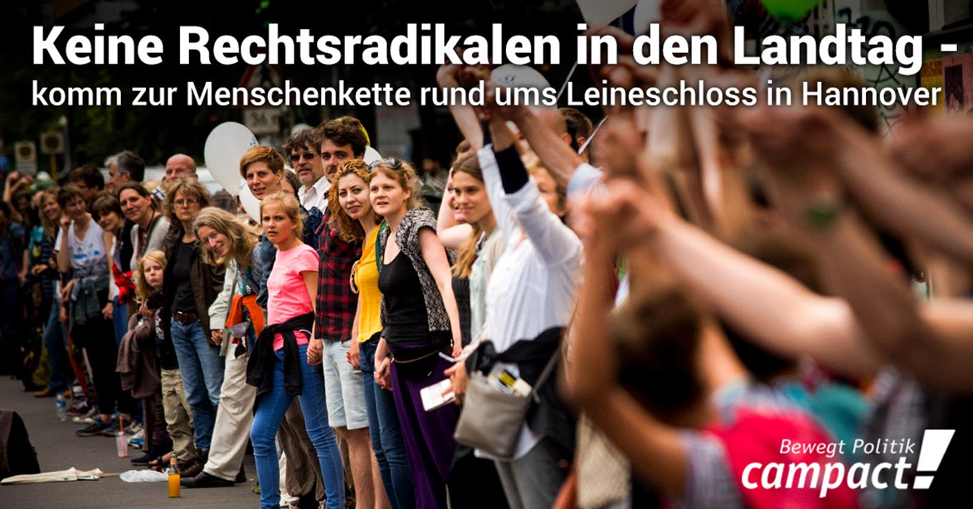 Keine Rechtsradikalen in den Landtag - Campact Menschenkette in Hannover / Campact e.V. [CC BY-ND 2.0]