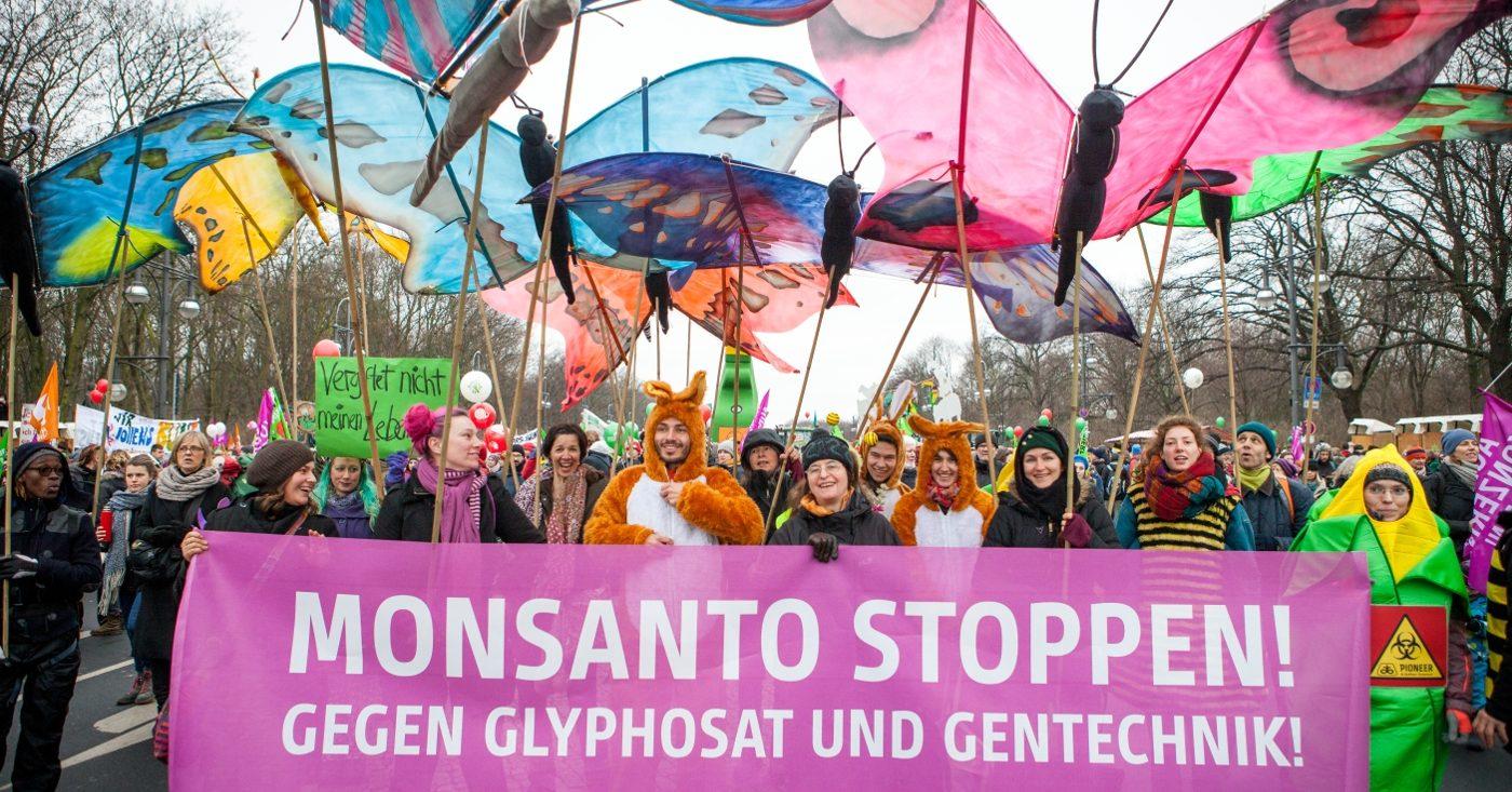 """""""Monsanto stoppen! Gegen Glyphosat und Gentechnik"""" - Aktivisten demonstrieren im Januar 2017 bei der """"Wir haben es satt""""-Demo in Berlin / Campact e.V. [CC BY-ND 2.0]"""