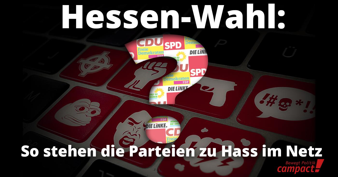 Campact begleitet den Hessischen Landtagswahlkampf mit einer Kampagne gegen Hate Speech. So positionieren sich die Parteien zu den Forderungen.