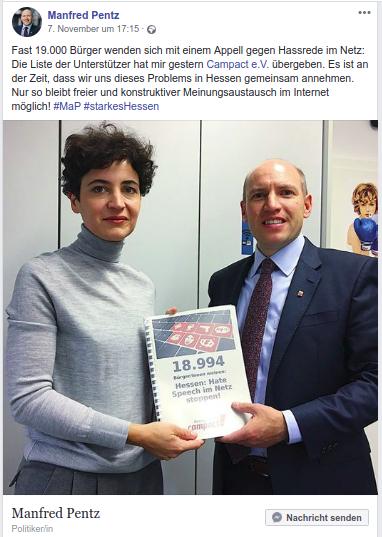 Am 6. November übergaben wir unseren Appell auch an die CDU Hessen.