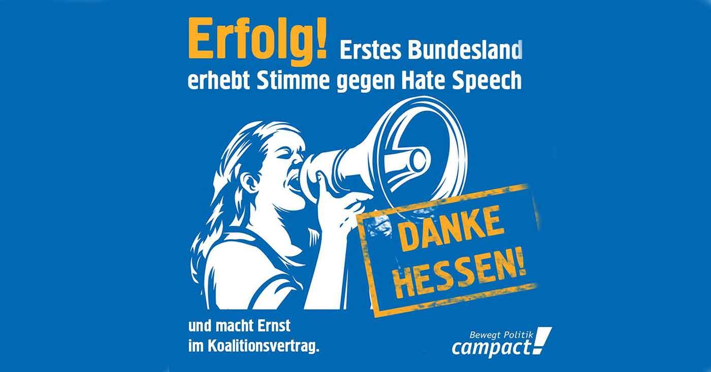 Erfolg: Erstes Bundesland erhebt Stimme gegen Hate Speech und macht Ernst im Koalitionsvertrag.