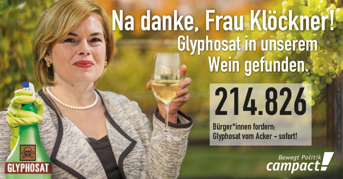 Julia Klöckner prostet mit Glyphosat-Wein: Na danke, Frau Klöckner! Glyphosat in unserem Wein gefunden.