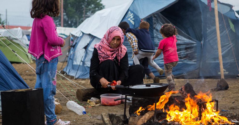 Geflüchtete im Lager Idomeni, Griechenland