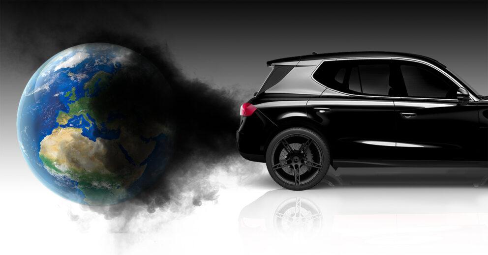 Schwarzer SUV verpestet mit Abgasen Erdkugel