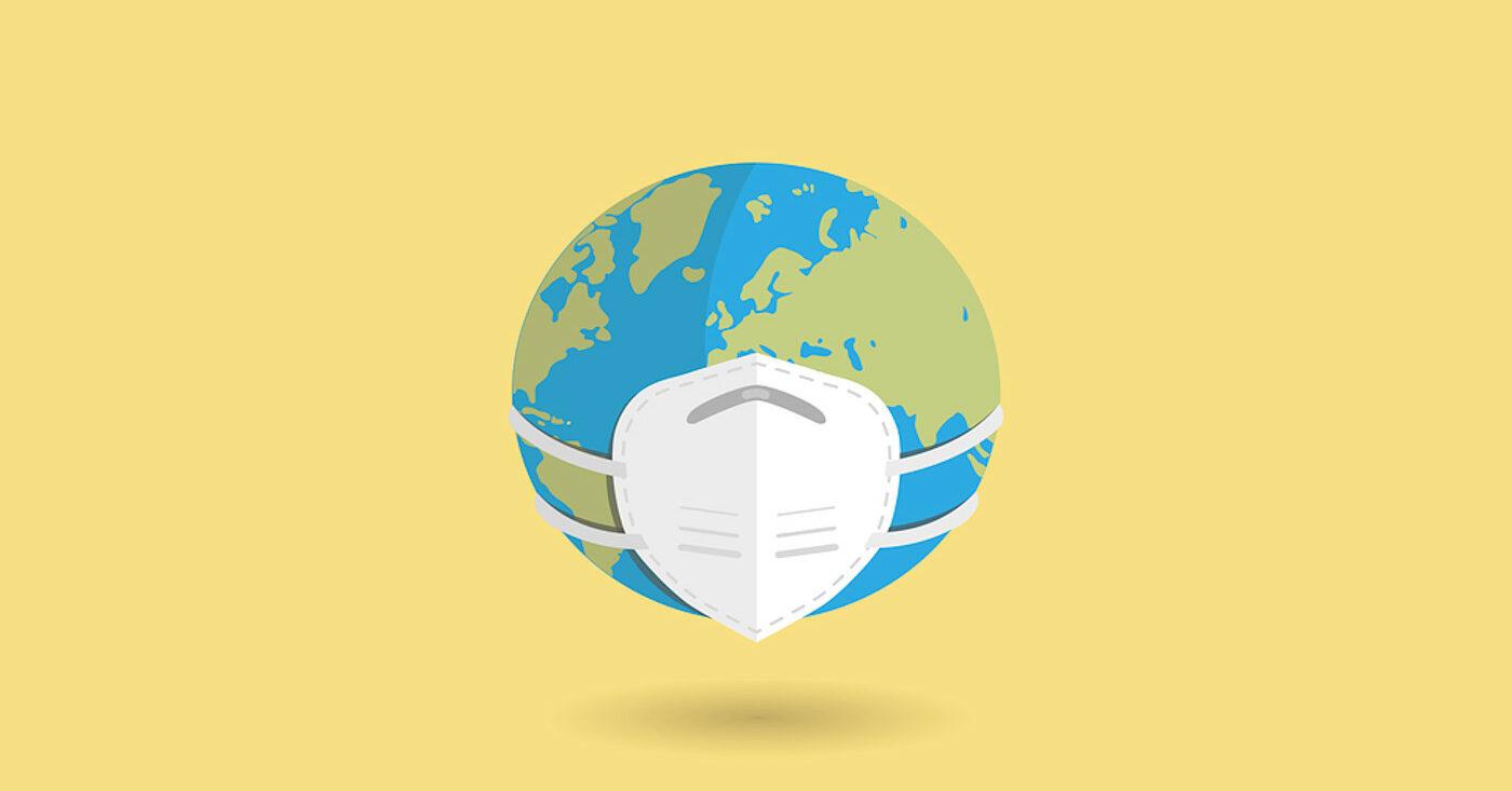 Weltkugel mit Atmschutzmaske