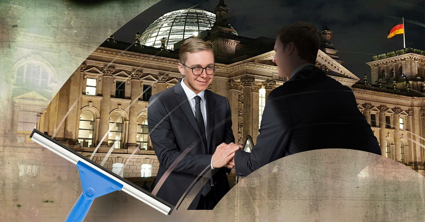 Der CDU-Bundestagsabgeordnete schüttelt einem unbekannten Mann die Hand (Montage)