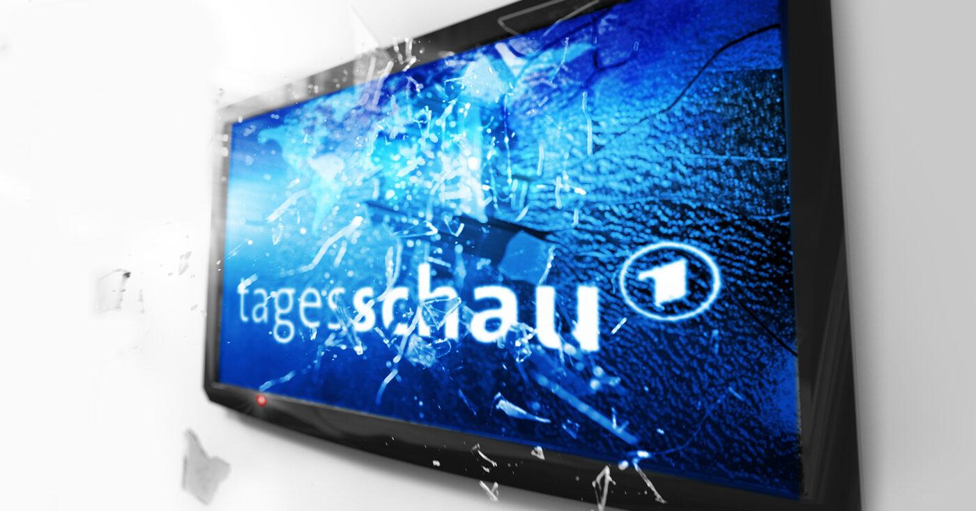 Abbildung des Tagesschau-Logos auf einem Bildschirm - Rundfunk retten - AfD & CDU stoppen. Jetzt Campact-Appell unterzeichnen