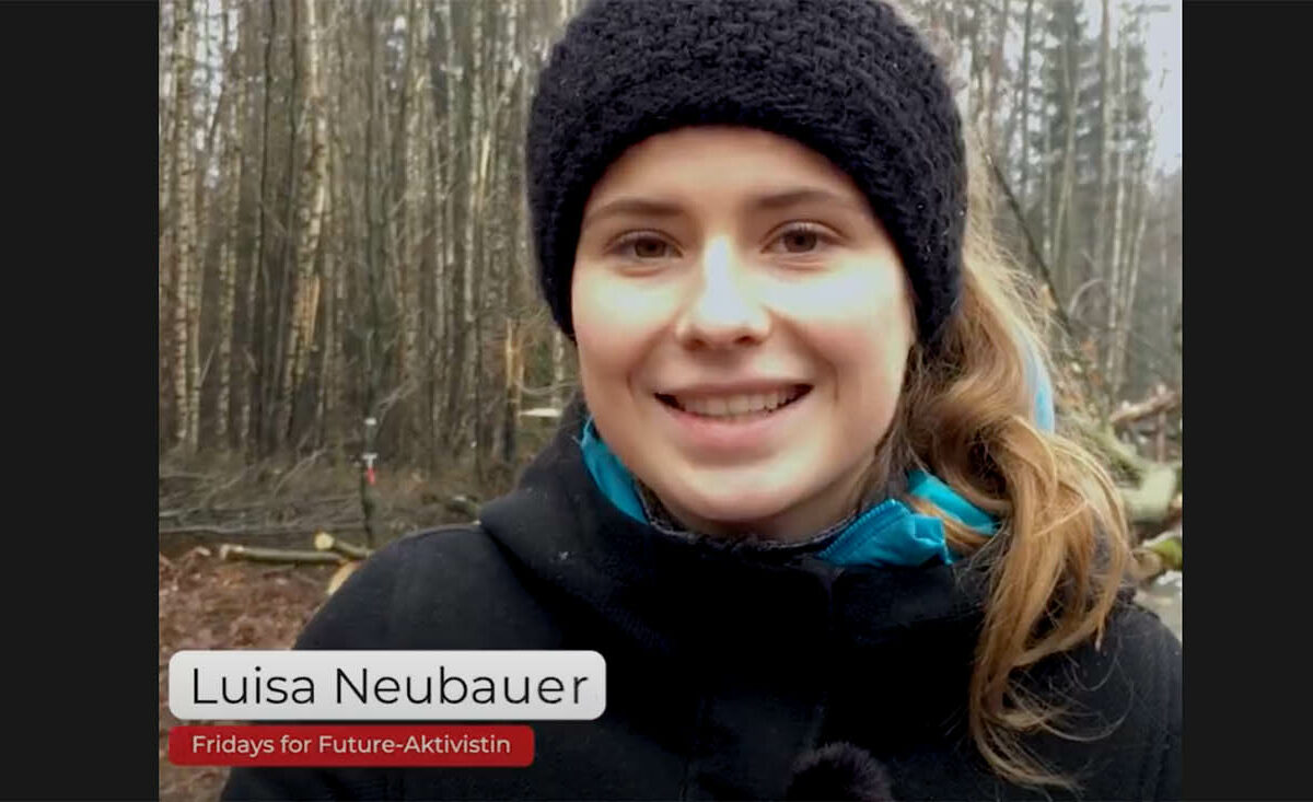 Screenshot YouTube: Luisa Neubauer protestiert mit Hunderten Aktiven im Dannenröder Wald für die Verkehrswende