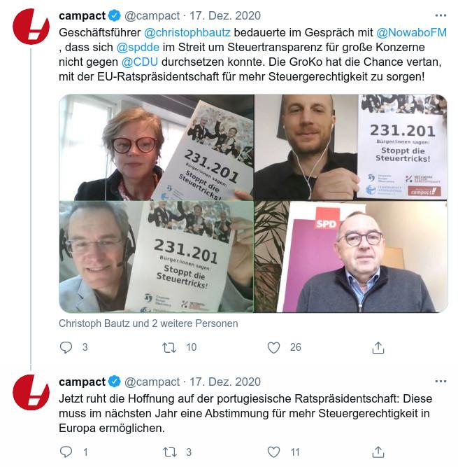 Ein Tweet mit einem Foto von der digitalen Übergabe des Campact-Appells für mehr Steuertransparenz an den SPD-Vorsitzenden Norbert Walter-Borjans.