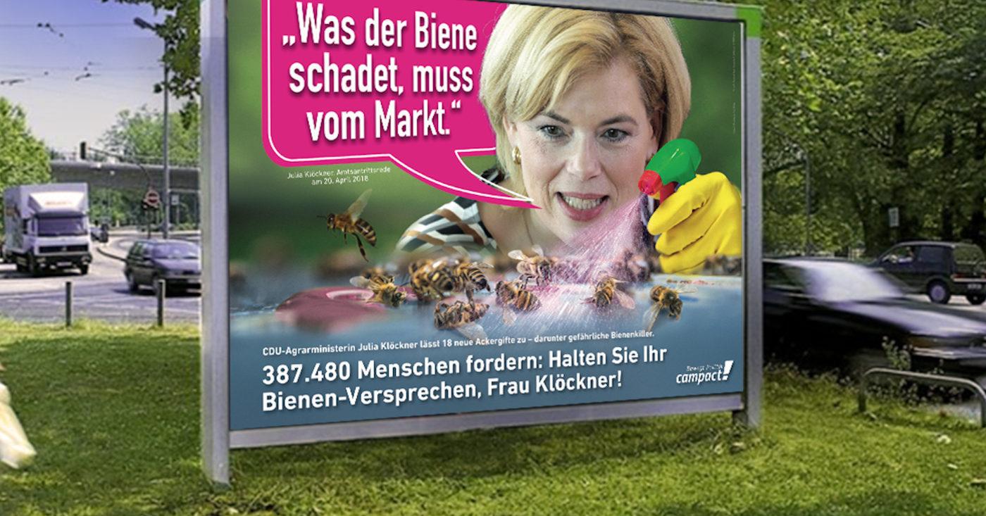 """Fotomontage: Julia Klöckner Plakation in Bad Kreuznach: """"Was der Biene schadet, muss vom Markt."""""""