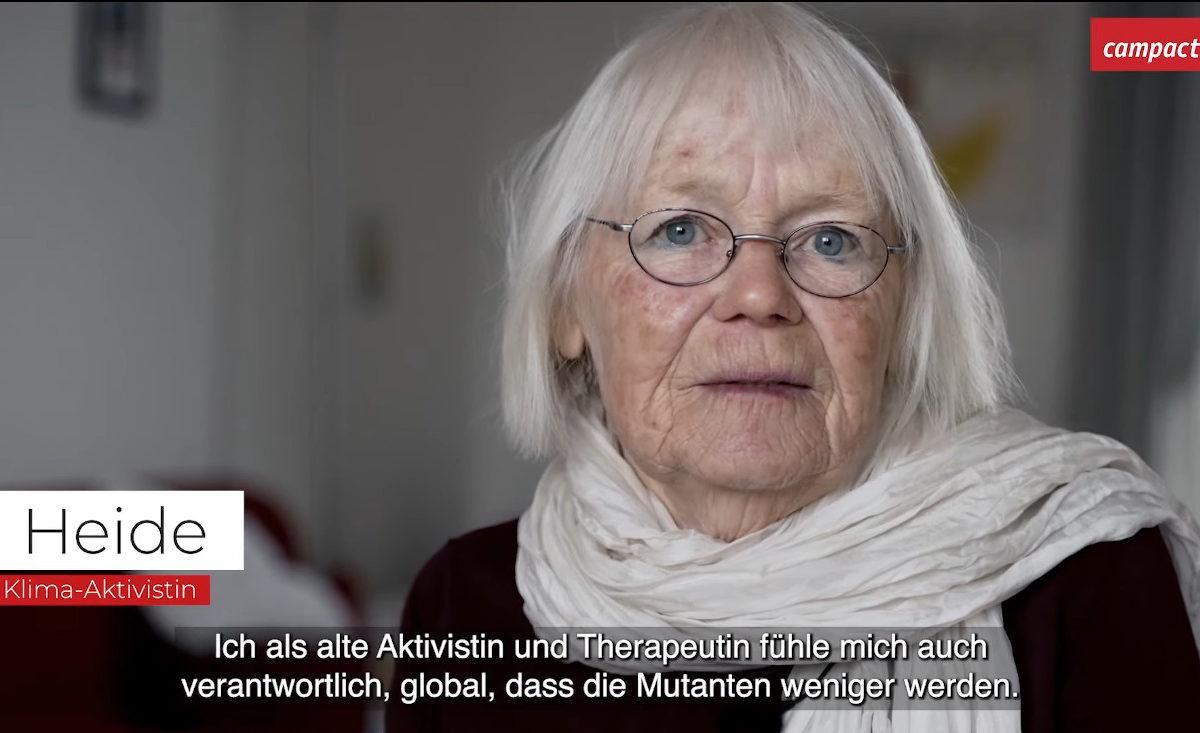 Heide erklärt im Impf-Video von Campact, warum sie sich für die Impfung entscheiden hat.