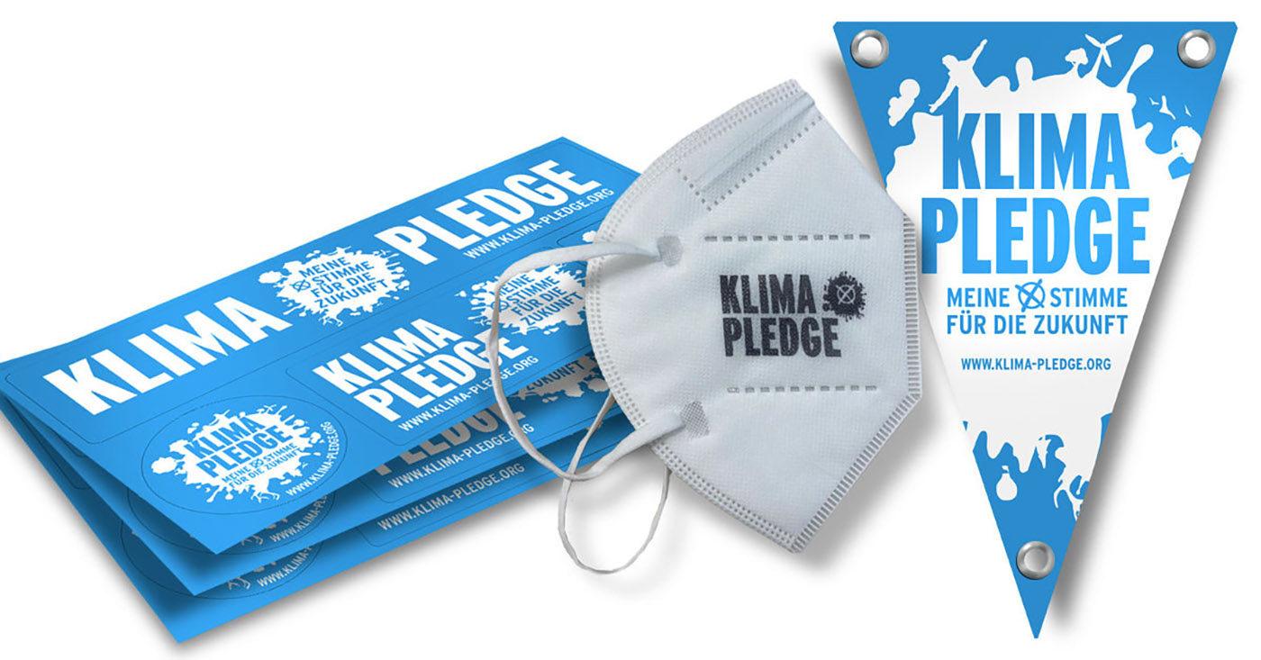Abbildungen von Masken, Wimpel und Sticker: Dein Statement für Klimaschutz. Jetzt Materialpaket bestellen