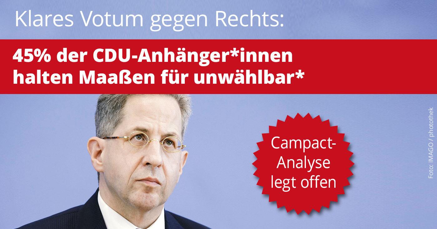 """Bild von Hans-Georg Maaßen. Aufschrift: """"Klares Votum gegen Rechts: 45% der CDU-Anhänger*innen halten Maaßen für unwählbar."""""""