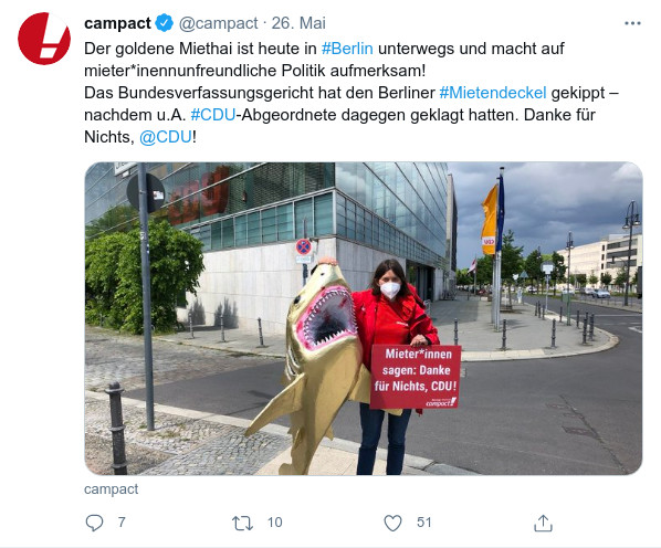 Der goldene Miethai: Union und FDP blockieren faire Mieten.