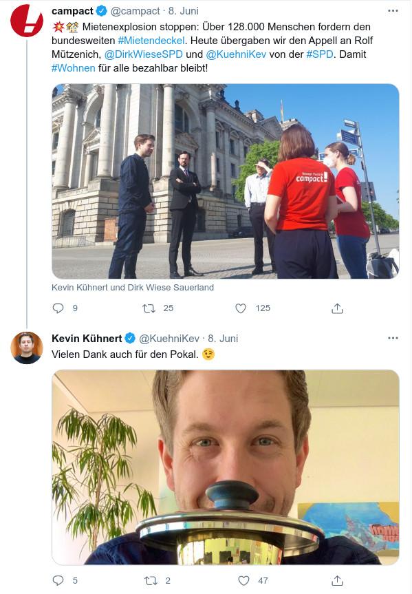 Campact übergab den Mietendeckel-Appell an die SPD. Kevin Kühnert bedankte sich auf Twitter.