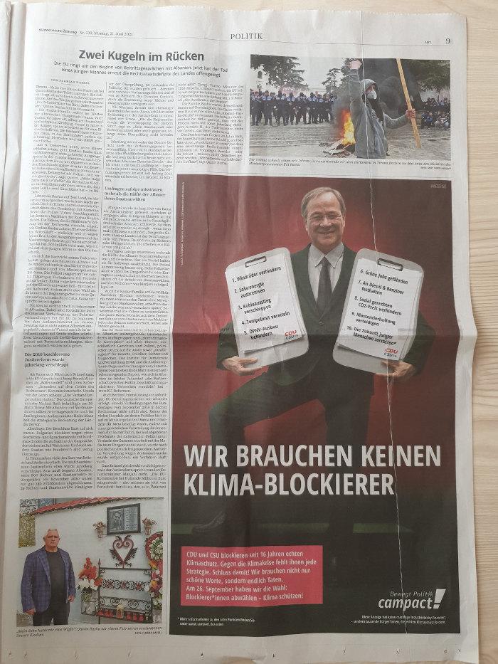 Die Gegenanzeige zur INSM-Kampagne von Campact in der Süddeutschen Zeitung.