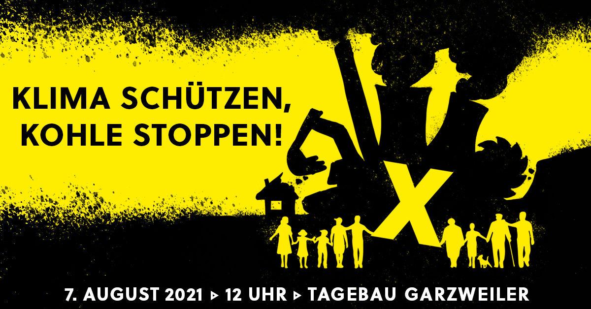 Gelb-Schwarzer Flyer für eine Demonstration. Menschenkette am Kohletagebau Garzweiler: Klima schützen, Kohle stoppen!