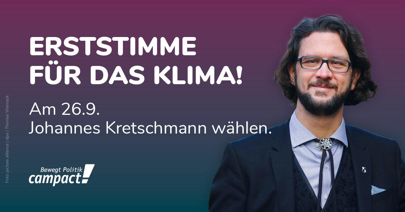 """Foto von Grünen-Politiker Johannes Kretschmann mit dem Schriftzug: """"Erststimme für das Klima!"""""""