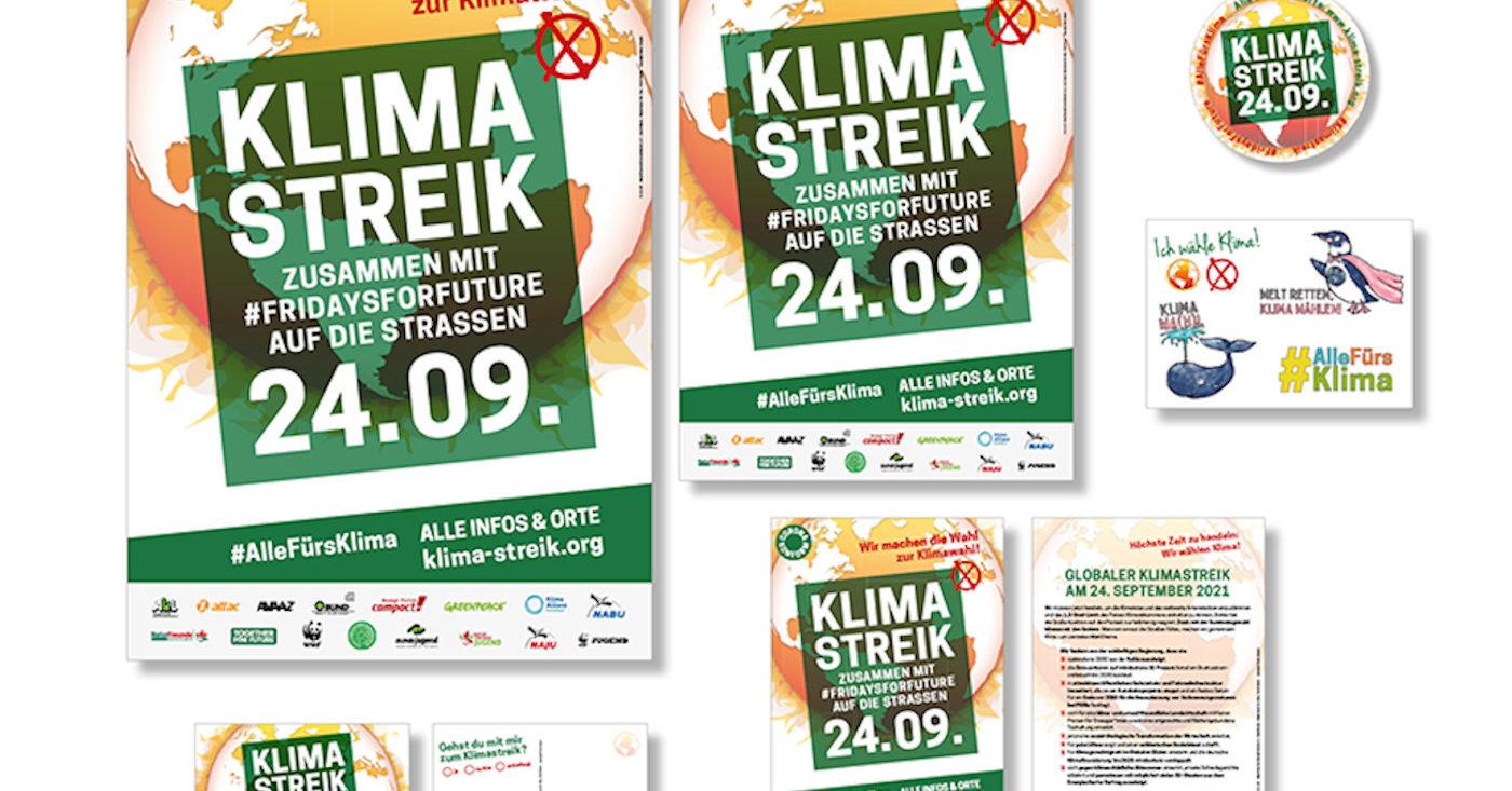 Verschiedene Printprodukte zum Klimastreik am 24.09.. Darunter Plakate, Flyer und Postkarten