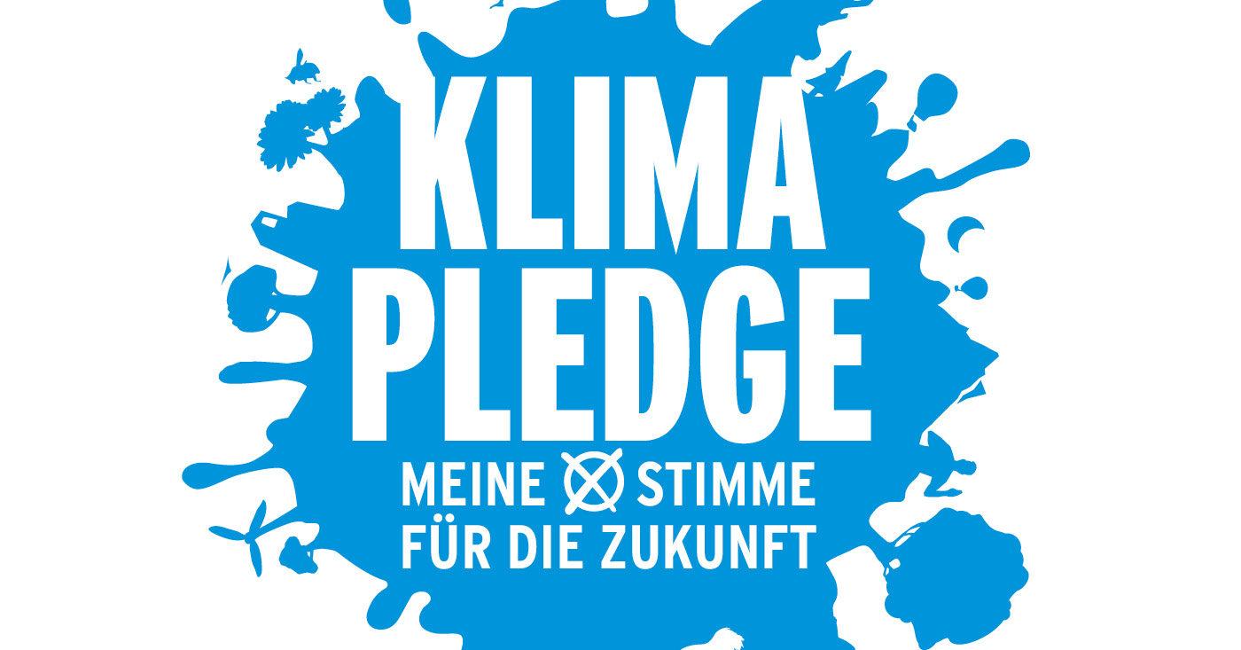 """Blaues Logo zu """"Klima-Pledge Meine Stimme für die Zukunft"""""""