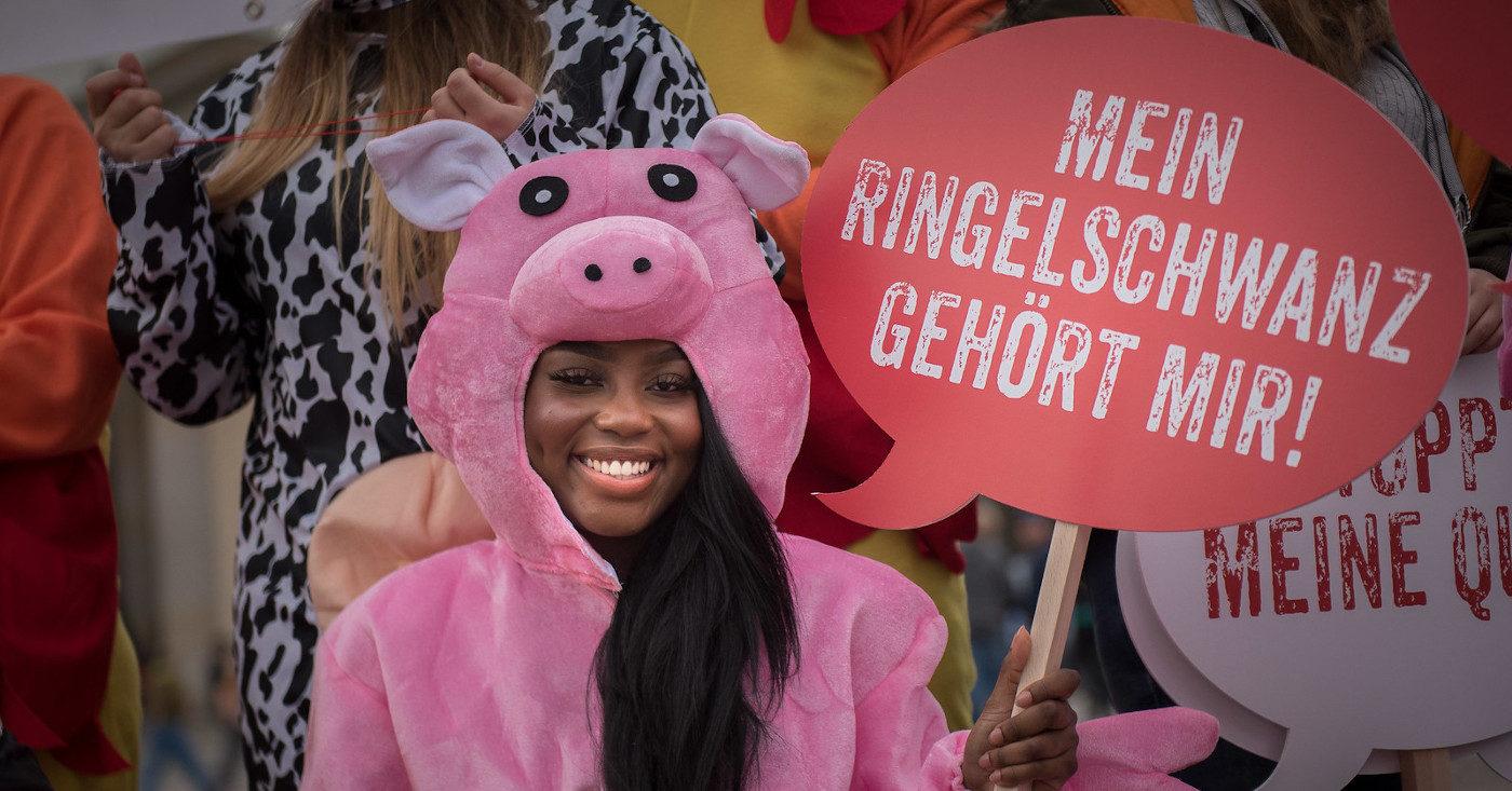 """Eine Person protestiert im pinken Schweinskostüm gegen das Tierwohllabel. Sie hält ein rotes Schild mit der Aufschrift """"Mein Ringelschwanz gehört mir""""."""