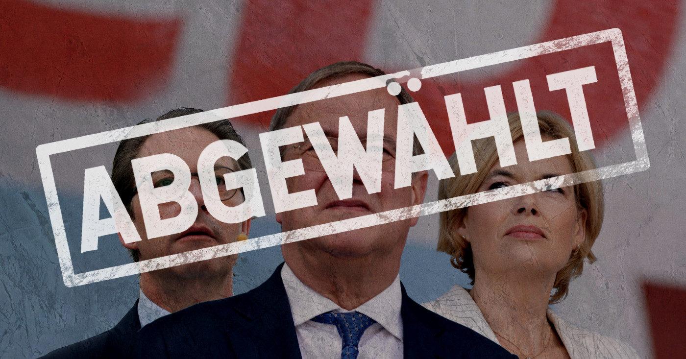 """Die CDU-Politiker*innen Julia Klöckner und Andreas Schauer stehen hinter Armin Laschelt. Über ihren Gesichtern ist ein Stempelabdruck """"ABGEWÄHLT"""""""